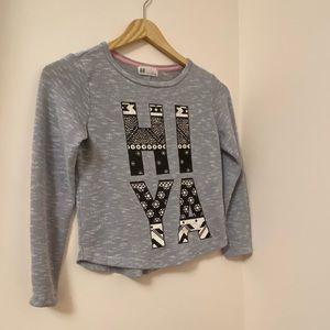 "H&M long sleeve sweater size:8-10 girls ""HI YA"""
